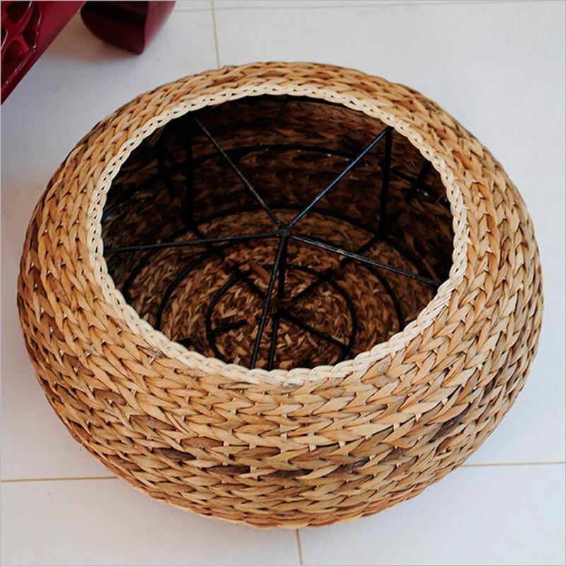 【京好】坐垫手工编织矮凳 日韩式加厚草编圆形坐垫ab