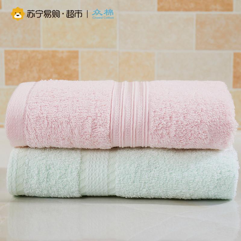 众棉 素色缎档纯棉毛巾2条装 柔软吸水 全棉亲肤洗脸毛巾 34*76cm 毛巾2条装-粉色、浅绿