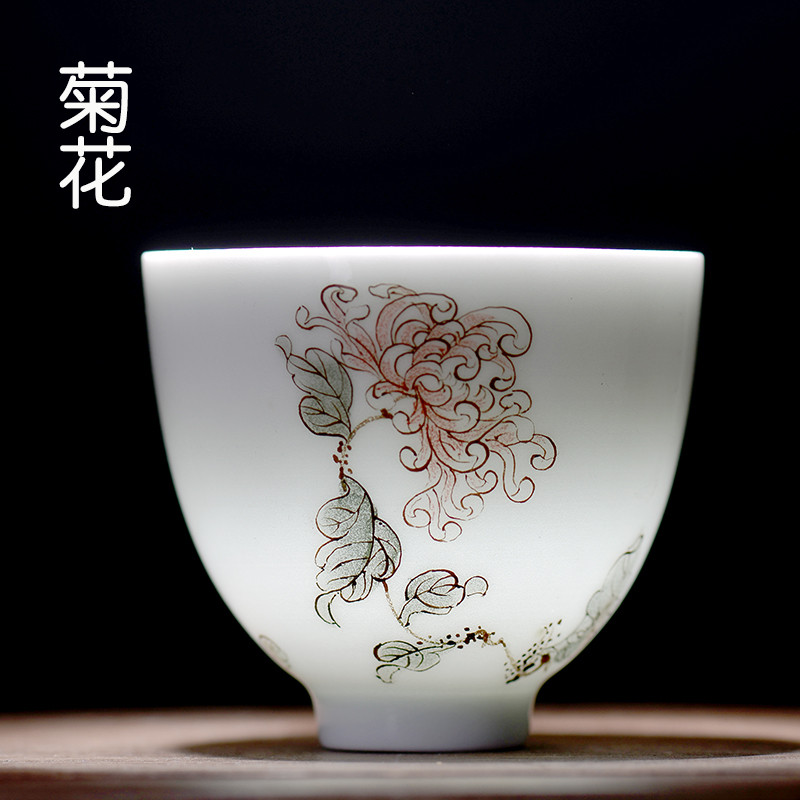 大润窑 陶瓷釉画梅兰竹菊小茶杯个人品茗杯功夫茶杯7263 3菊花鸡心杯