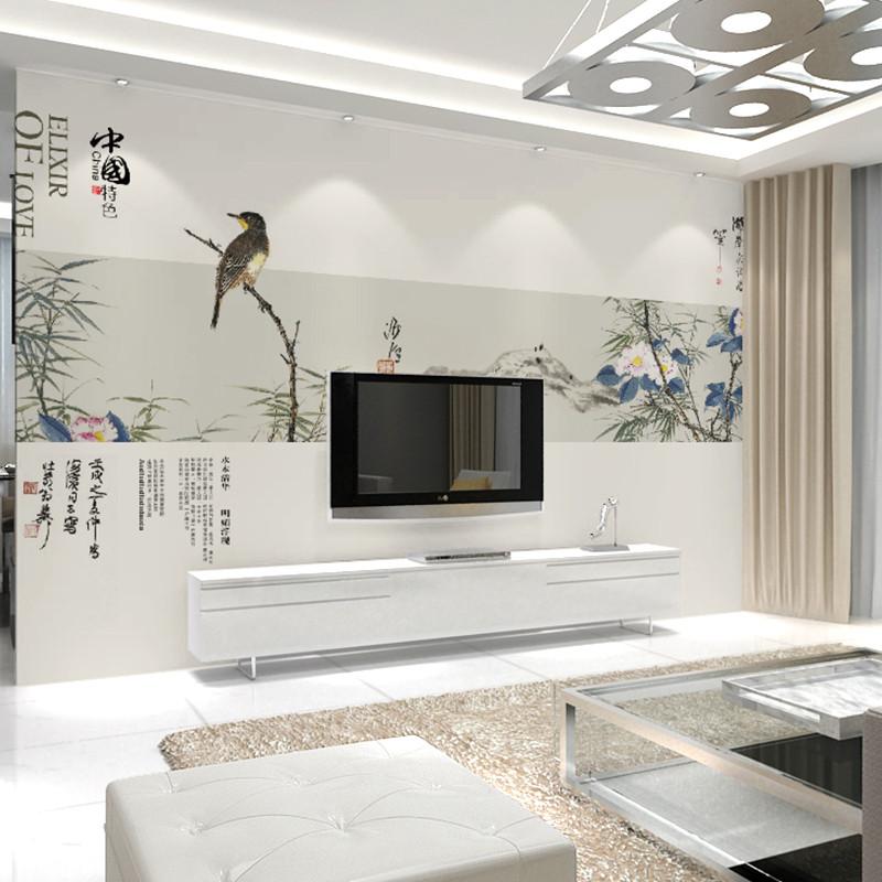 卡茵 中式簡約客廳電視背景墻壁畫 唯美影視墻墻紙可定制壁紙 德國
