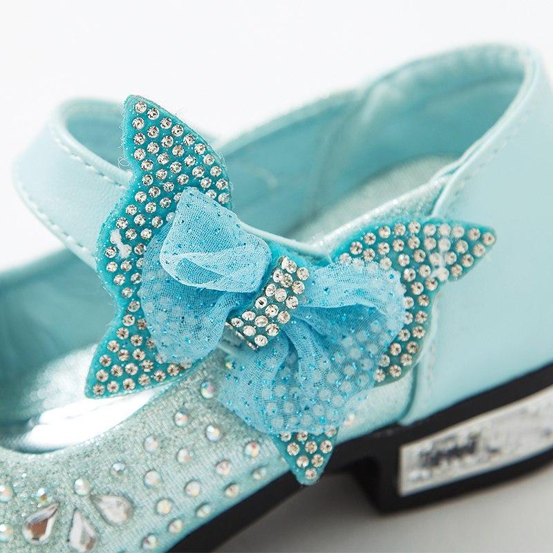2016款春秋儿童公主鞋水晶鞋韩版中大童女童高跟鞋演出表演 蓝色 32码