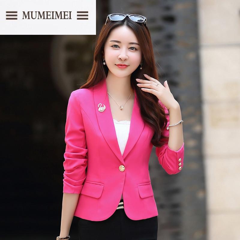 MUM2017春裝新款女裝韓版修身西服百搭短款
