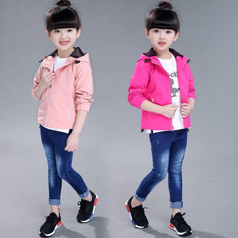 童装糖果色2017春款新品小孩子衣服女童韩版童外套大童上装_4_9 160cm