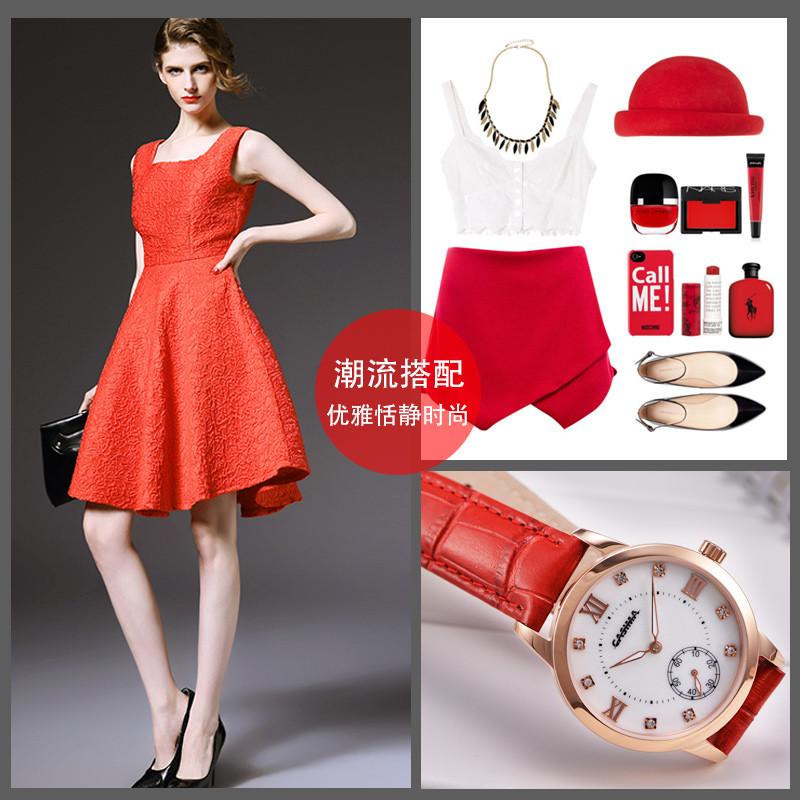 卡斯曼casima韩版简约时尚皮带可爱时装女表防水学生手表 间金白面