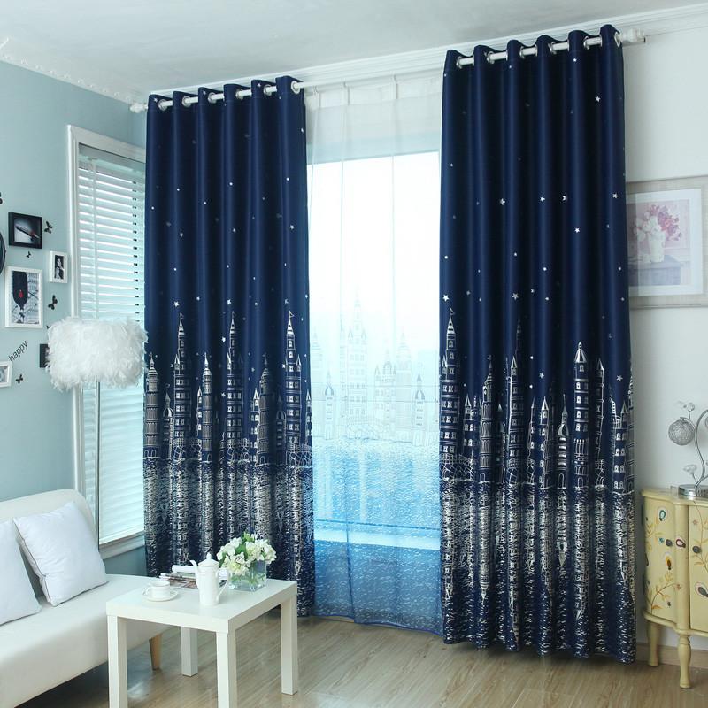 遮光隔热窗帘简约现代风格卧室阳台防晒客厅飘窗成品窗帘 打孔/高2.