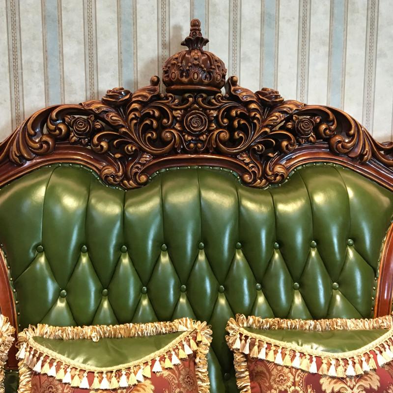 淮木 欧式皮沙发组合客厅实木雕花大户型绿色家具四人