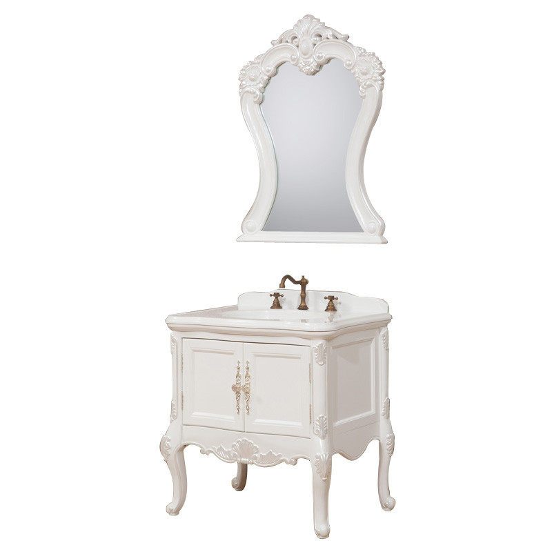 简约欧式浴室柜 欧式洗手盆洗脸台 大理石面橡木卫浴柜组合 0.9m 白色