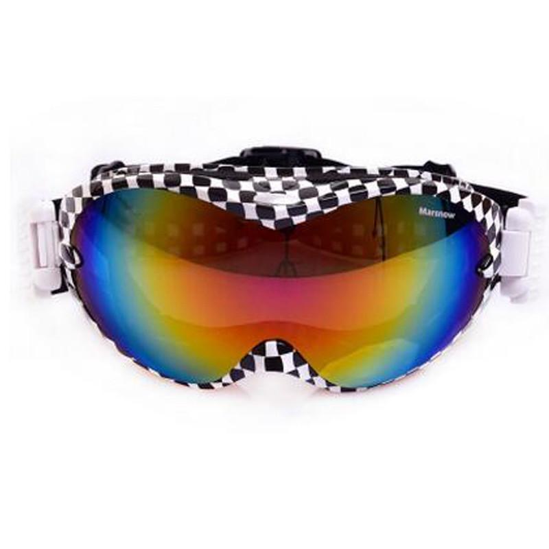 户外运动滑雪镜双层 球面镜片滑雪眼镜001 18黑白格