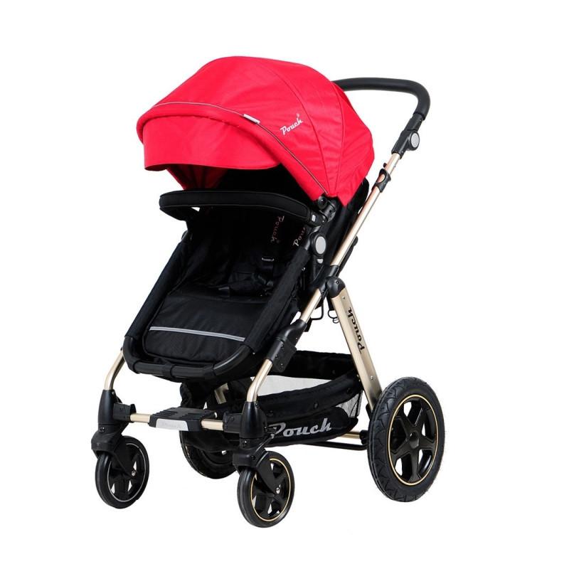 Pouch帛琦 兒童推車高景觀可坐可折疊可變睡籃0-3歲嬰幼兒推車一鍵收車超強避震承重20KG冬夏兩用P680金爵版 紅色