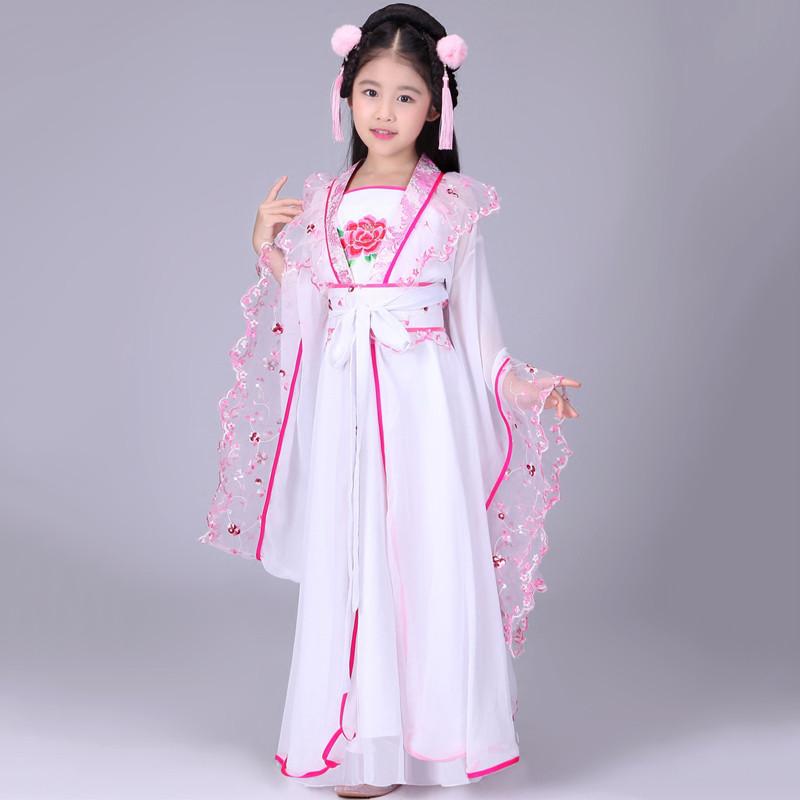 儿童古装仙女装 女童仙女装贵妃服装汉服儿童古典舞舞蹈演出服装 110