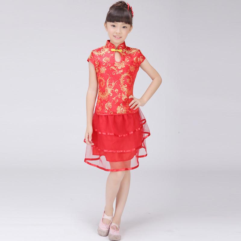 小女孩儿童唐装夏季公主纱裙套装旗袍短纱裙民族舞台蹈表演出服装 120