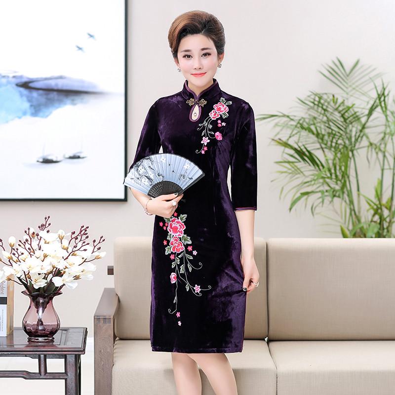 2017中老年金丝绒旗袍连衣裙中年妈妈大码礼服改良旗袍修身中长款绣花