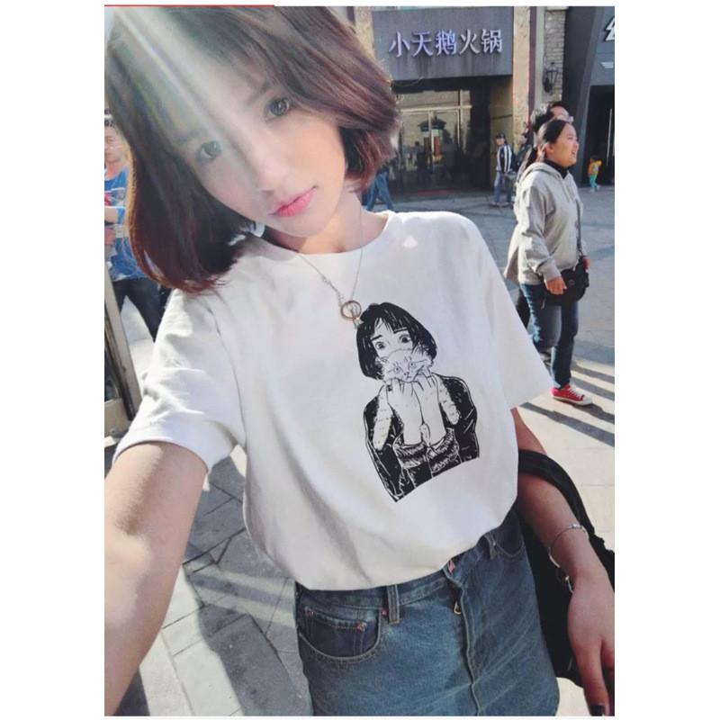 动漫人物头像素描短袖t恤女大码女装闺蜜装1494136150913 2xl 白色