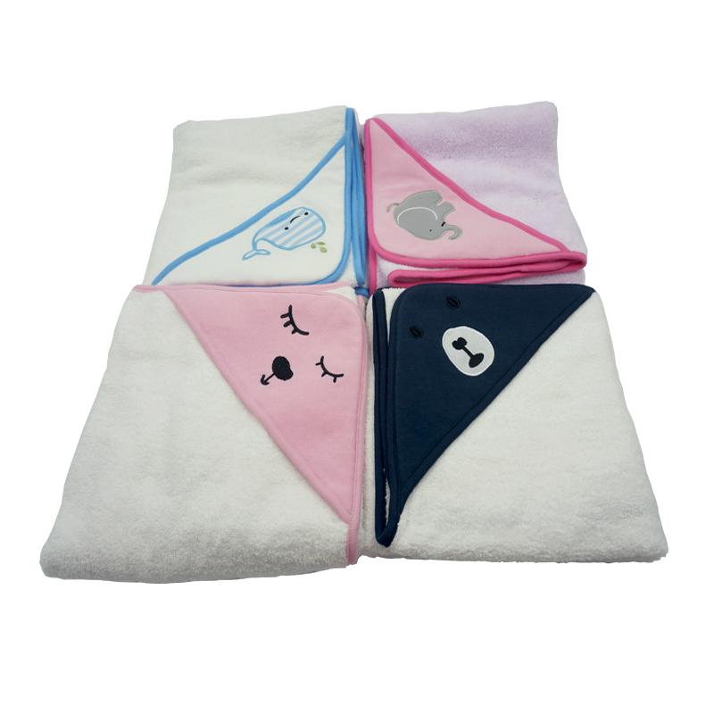 【蘇寧自營】慶澤(KINGZER)嬰兒三角帽抱毯 進口長絨棉 76*76cm 單條包裝 76*76cm 粉色