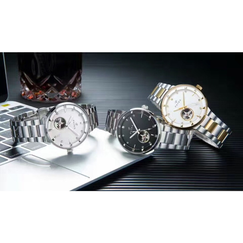 派克表 新款 进口机械腕表 镶钻镂空设计休闲时尚商务