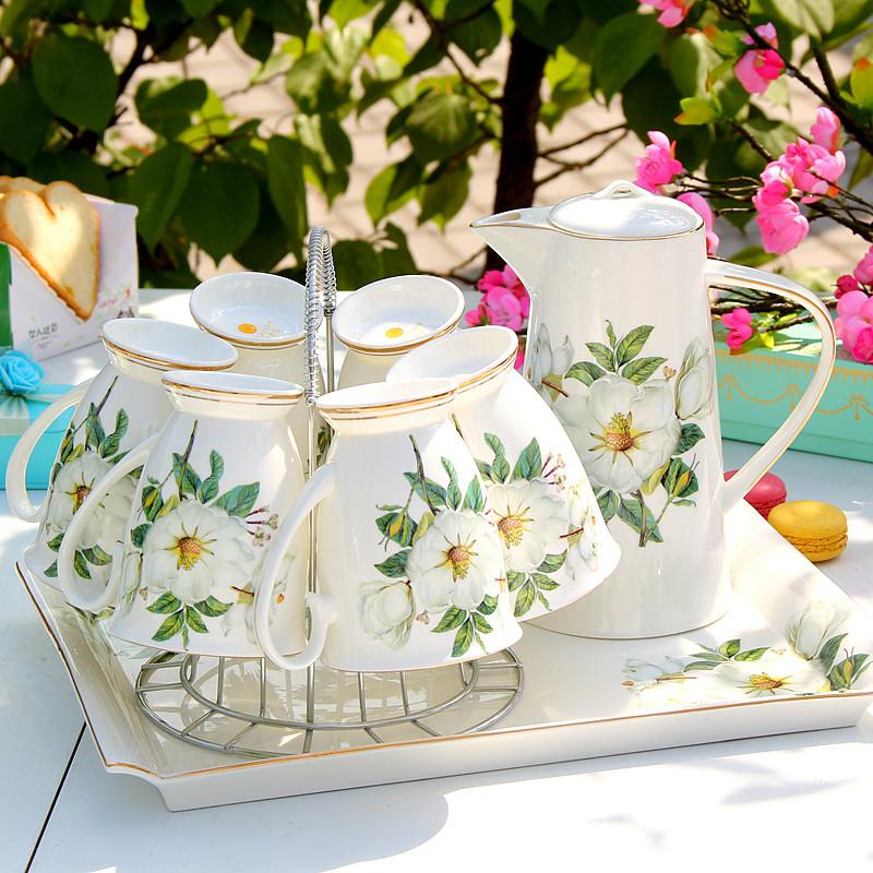陶瓷杯子水杯套装 冷凉水壶水具 热水壶耐热茶壶家用欧式客厅 茶花水图片