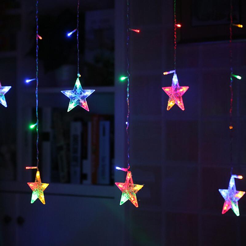 节日圣诞小彩灯满天星窗帘 led装饰灯彩灯闪灯串灯冰条灯 彩色带尾插