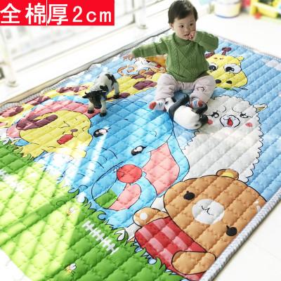乐缔全棉宝宝爬行垫加厚2cm家用客厅卧室婴儿爬爬垫儿童地垫游戏垫快乐动物乐园200cm*150cm*2cm