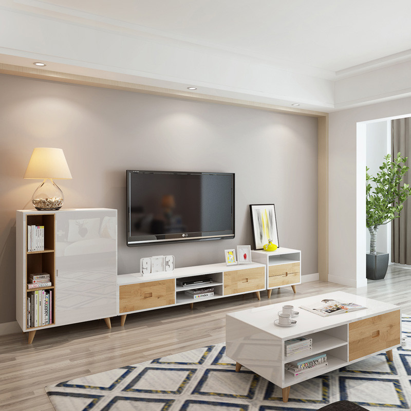 茶几电视柜组合大小户型客厅 北欧电视柜简约现代烤漆