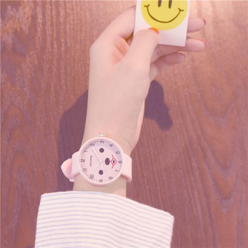 2017韩版时尚潮流女生简约小清新可爱少女款中学生手表 粉带 默认尺寸