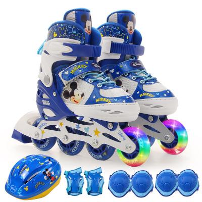 迪士尼(Disney)儿童轮滑鞋套装 可调节 闪光男女 透气 溜冰鞋