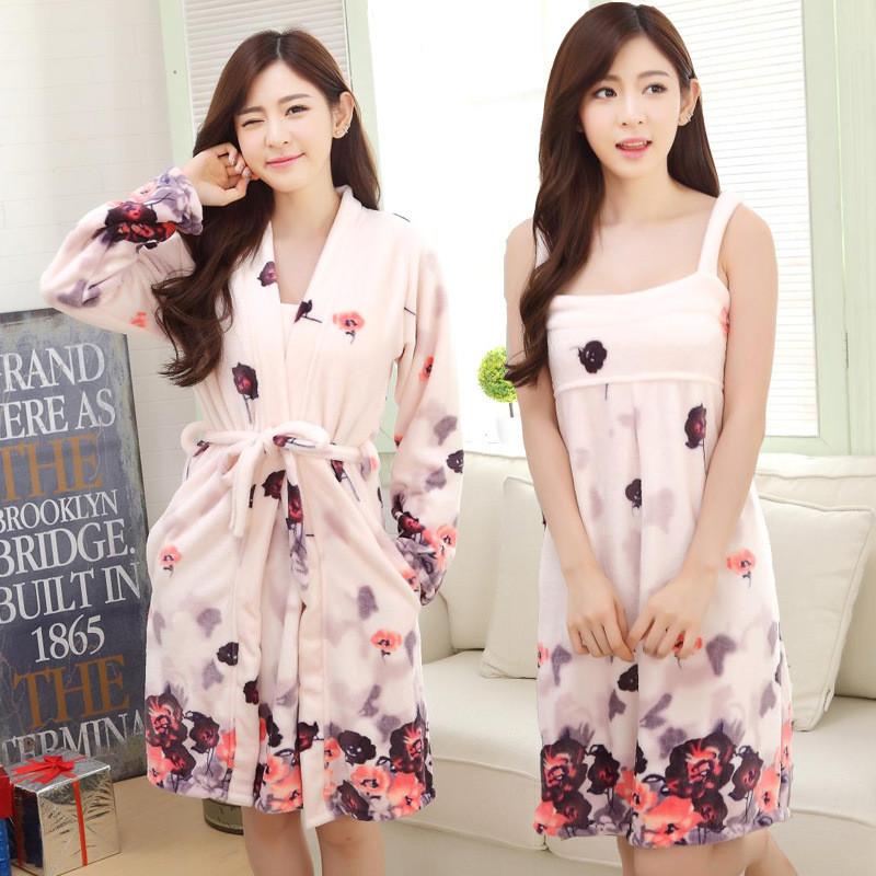 秋冬季珊瑚绒女可爱睡袍两件套加厚法兰绒长袍浴袍妈妈睡衣