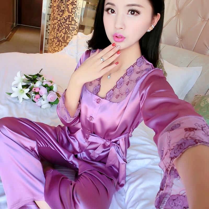 睡衣女秋季性感长袖长裤冰丝丝绸两件套装春秋蕾丝女士秋天家居服长图片