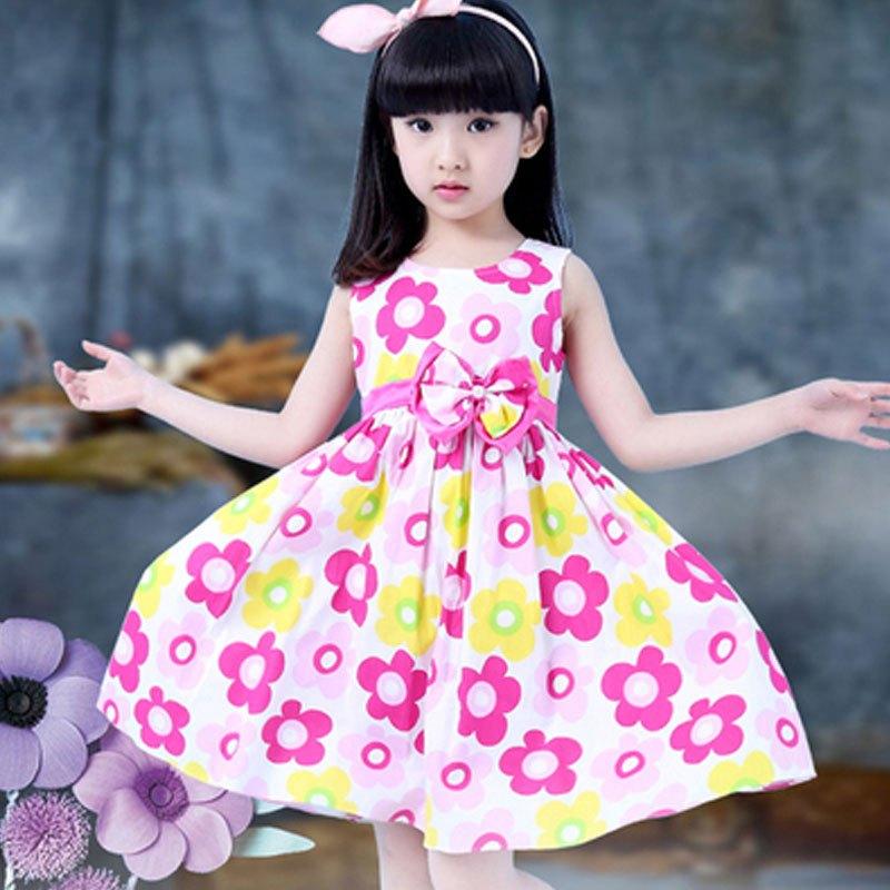 背心连衣裙夏季女孩简约小清新碎花裙潮可爱小女孩子裙子夏天女宝宝