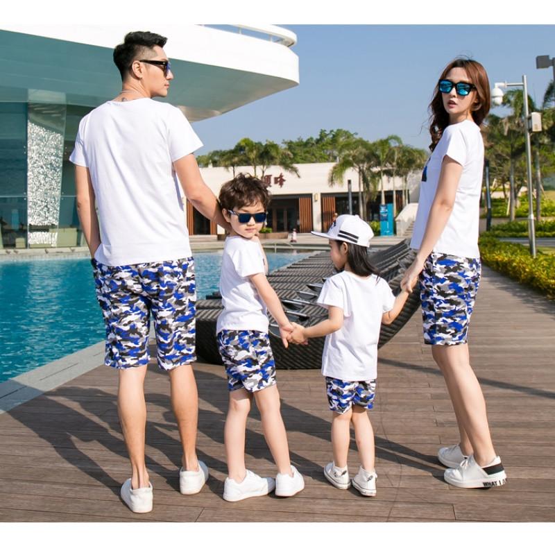 828新款海滩沙滩夏季亲子装夏装海边度假一家三口短袖