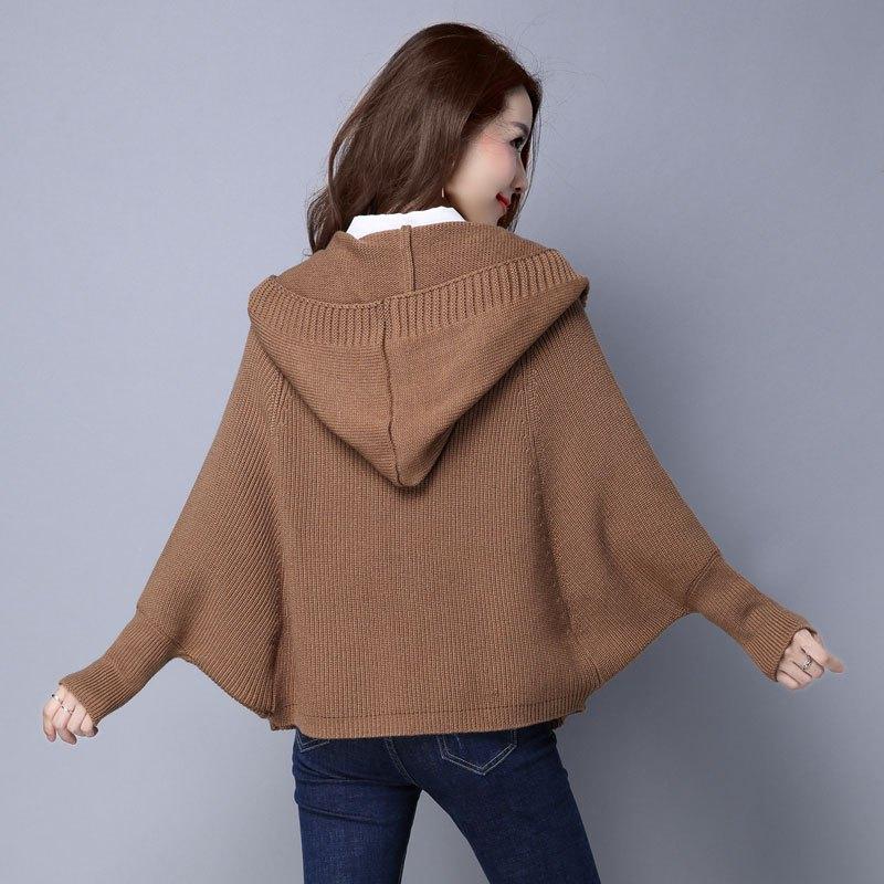 珍真羊 短外套毛衣女2017秋装新款女士长袖宽松带帽针织衫早秋冬开衫
