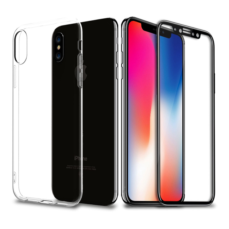 escase 苹果iphonex手机壳 iphonex钢化膜 全包防摔透明软壳 全屏黑色