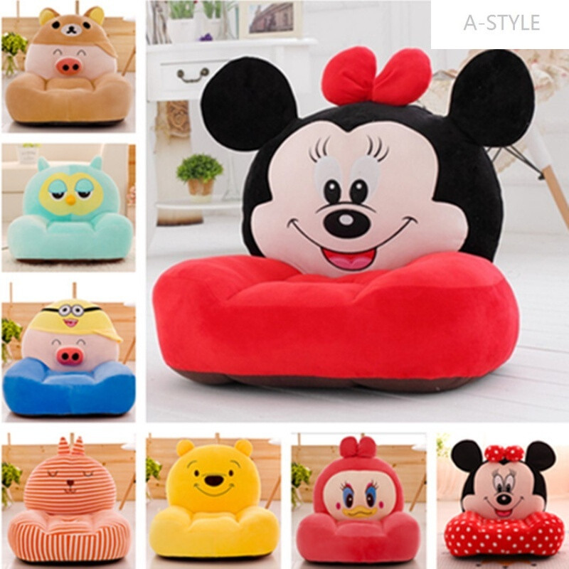 a-style卡通可爱动物宝宝懒人沙发座椅毛绒玩具单人沙发 粉kt猫沙发