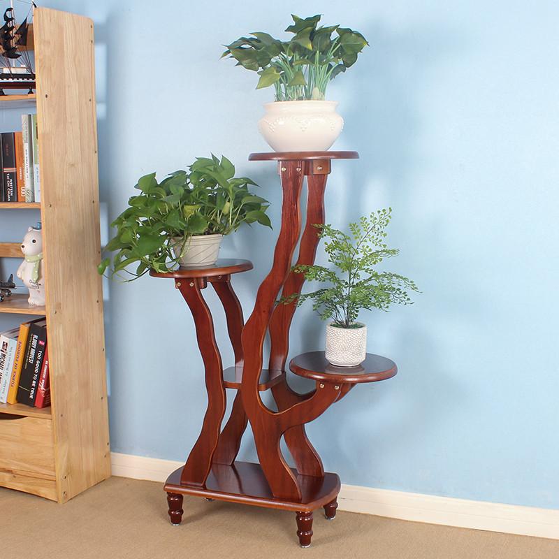 花架实木多层落地花架子木制花架实木盆景架阳台客厅室内花架绿萝生活