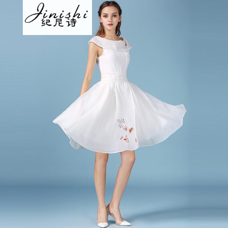 纪尼诗女装2017夏季新款复古女装一字领绣花修身连衣裙蓬蓬 xl 珍珠白