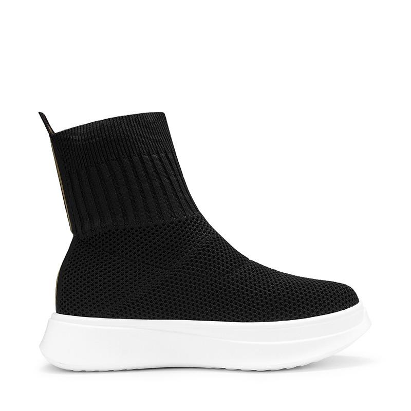 柯玛妮克 2017冬季新款黑色中跟靴子女 毛线针织靴休闲女中筒靴