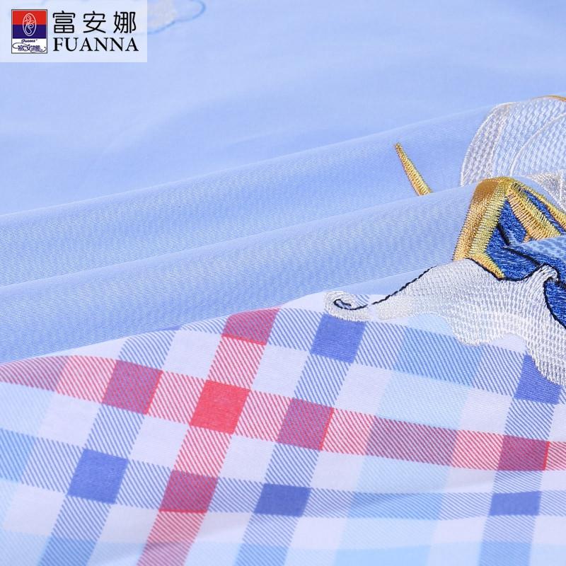 【苏宁超市】富安娜家纺儿童四件套纯棉床单床品全棉套件1.8米双人 小小航海家 1.8m床 蓝色