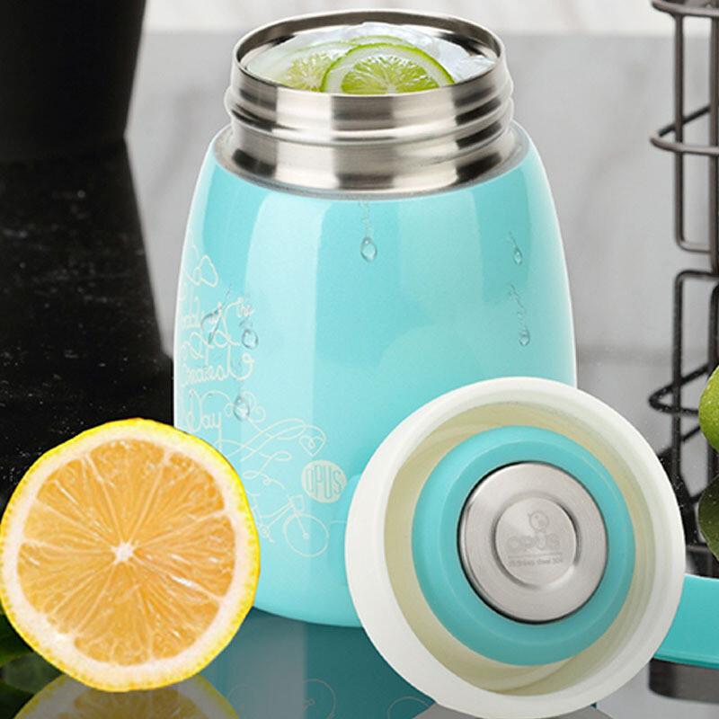 便携迷你保温杯304不锈钢水杯学生水壶女创意杯子可爱大肚杯 梦幻蓝