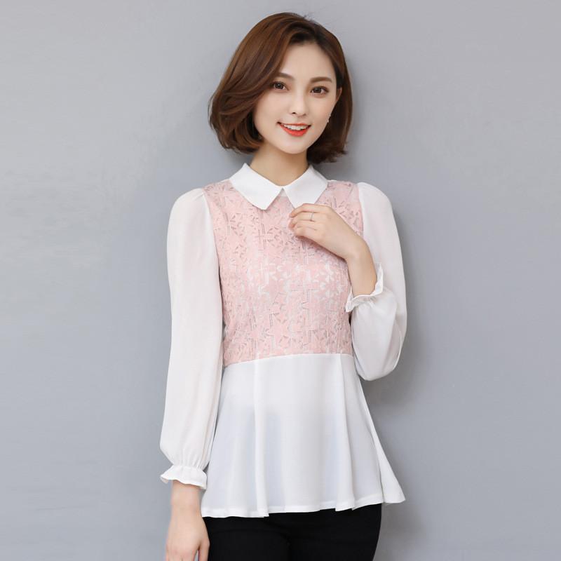 蕾丝雪纺衫长袖