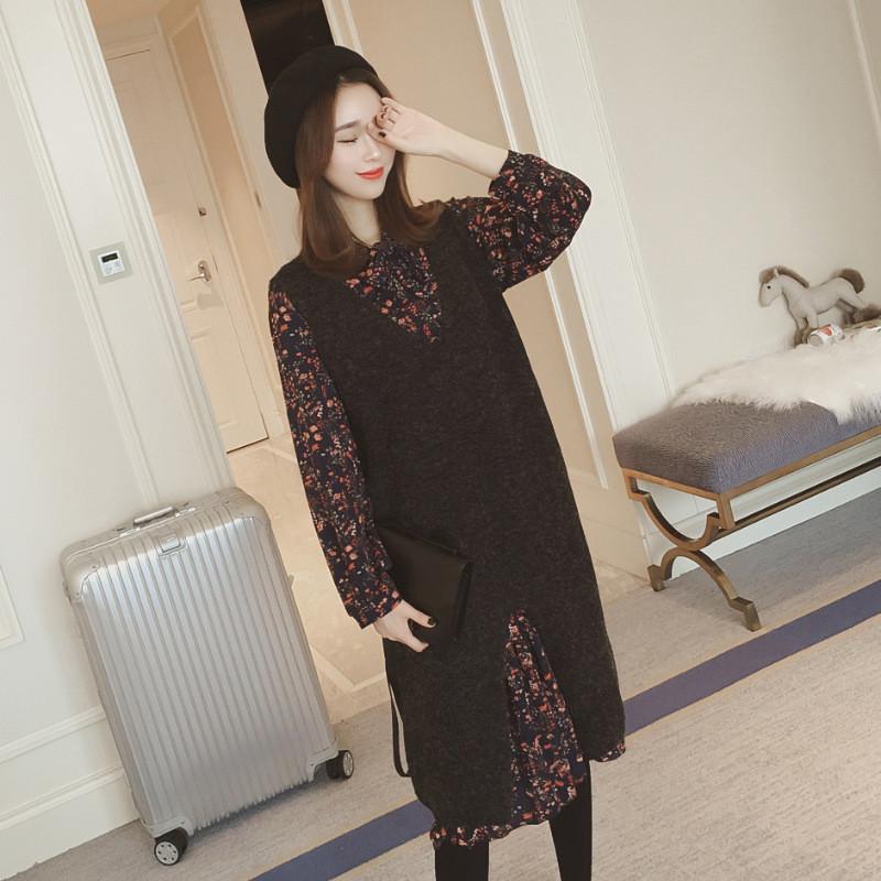 秋装新款套装裙连衣裙秋冬两件套碎花长袖背带裙针织背心长裙 m 黑色