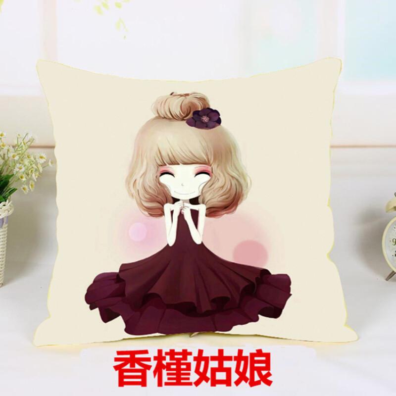 新款印花卡通动漫十字绣抱枕花花公主可爱姐妹闺蜜客厅靠枕