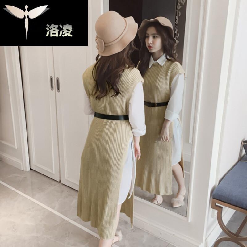 新款半领无袖针织背心裙子宽松中长款开叉衬衣 腰带三