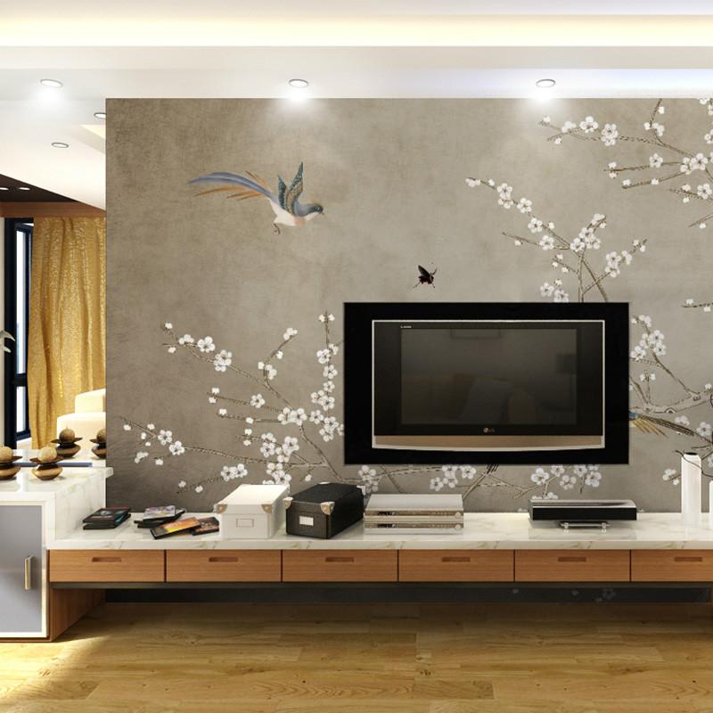 工笔花鸟电视背景墙壁画中式无缝壁纸手绘影视墙墙纸定制书房墙布