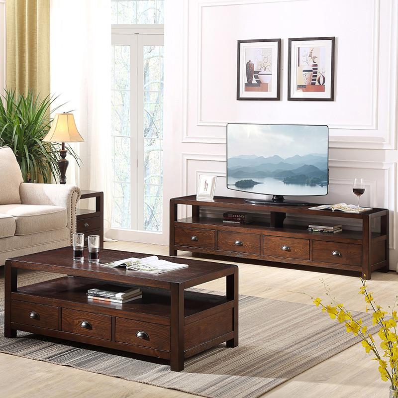 a家家具 电视柜茶几组合套装美式实木框架卧室客厅 茶几 电视柜 美式图片
