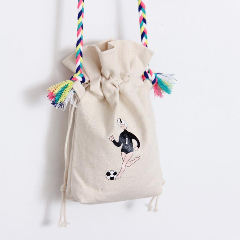 韩版可爱迷你水桶包抽绳斜挎包手机零钱包女布包sn-1546 滑板美女
