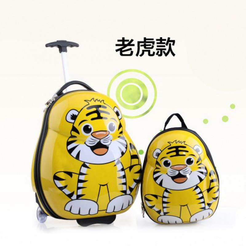 学生旅行箱卡通行李箱双肩背书包子母箱 14寸背包 小老虎(pc环保款)