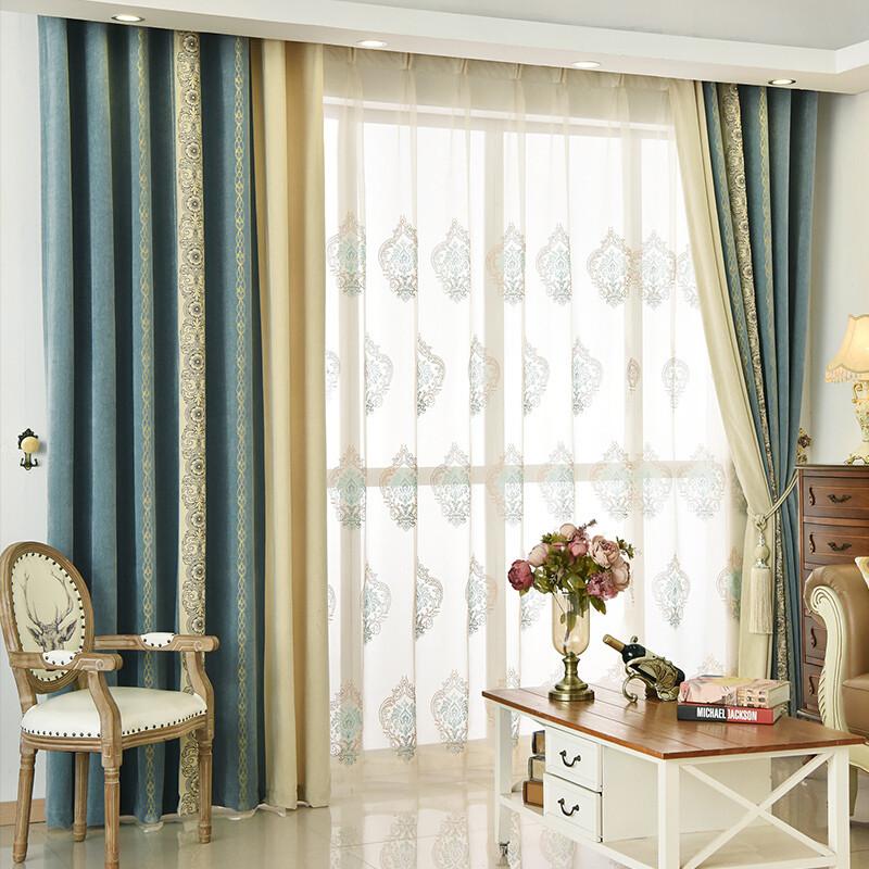 欧式遮光拼接窗帘成品定制卧室客厅阳台飘窗落地窗帘布艺家用布帘蓝花