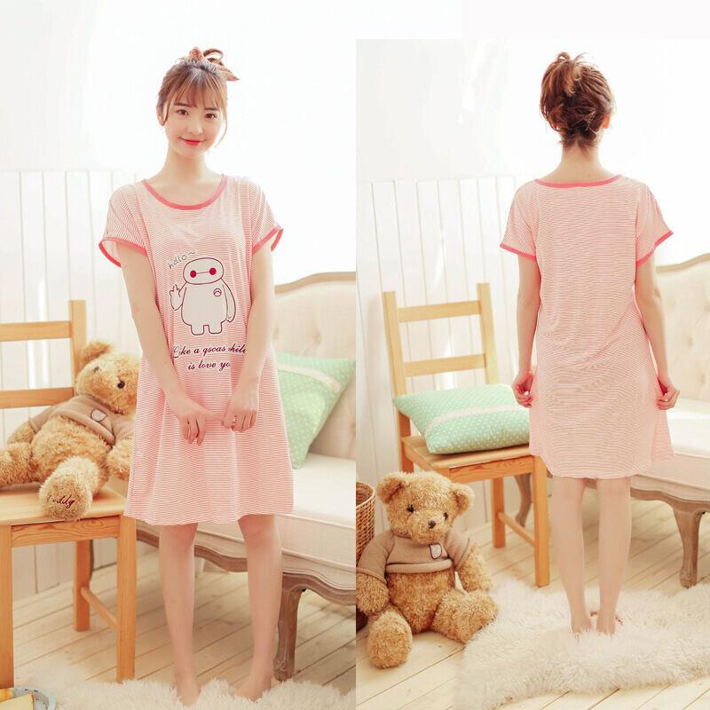 夏季新款睡裙女牛奶丝均码卡通可爱睡衣 粉色 粉色小鸭