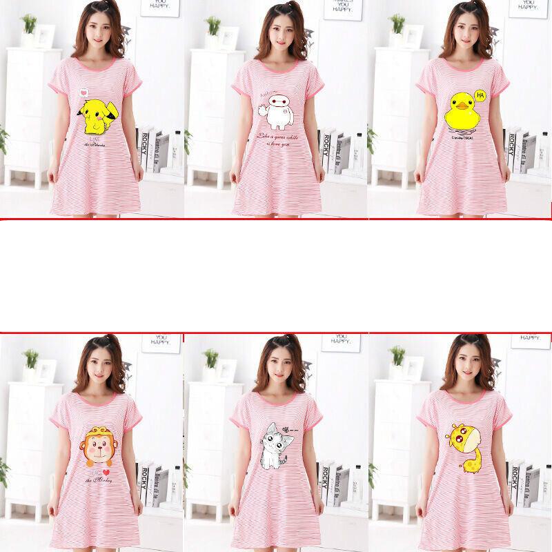 夏季新款睡裙女牛奶丝均码卡通可爱睡衣 蓝色 粉色乔巴