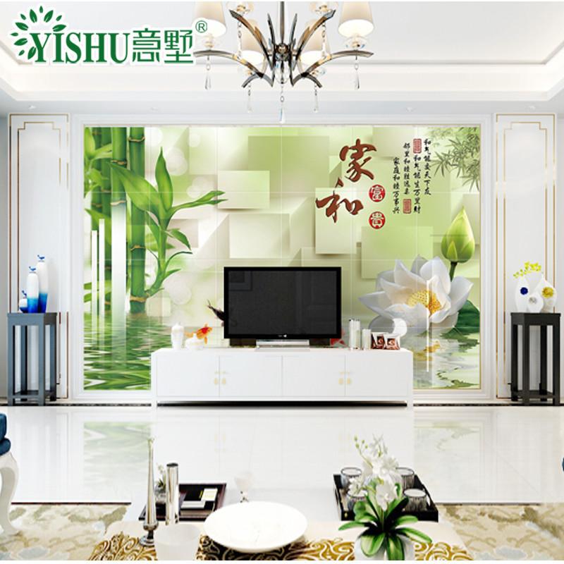 瓷砖背景墙3d高温微晶石简约壁画新中式客厅风景画影视墙定制电视背景