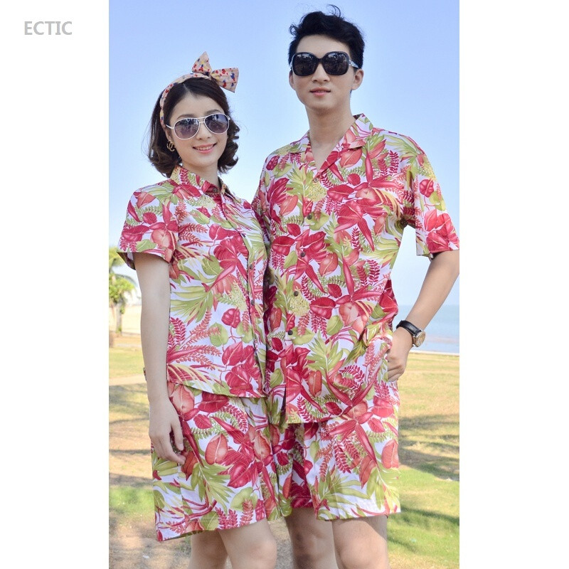ectic情侣沙滩服男三亚海边度假短袖衬衫女夏威夷衬衣